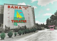 Bama Drive-in, Mobile, Al., James Beeland Bissell, gelatin silver print, hand tinted with Prisma pencil