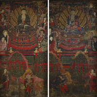 Two interior walls, with mural paintings on both sides, from a Buddhist temple. One side of each wall has been conserved to reveal paintings. Opposite sides are on view to the public, but their paintings are obscured by smoke and fire damage. Scenes are two end panels from a larger composition of the Pure Land of Amitabha Buddha. Central figures of Amitabha on each panel surrounded by various celestial  figures, animals, and plants.