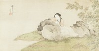 Lady, Zhu Lian, ink and color on silk