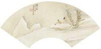 Composing in the Snow Amidst Plum Trees, Liang Youwei, ink and color on silk