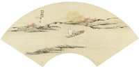 Sailing with Guests on Autumn Waters, Liang Youwei, ink and color on silk