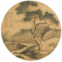 Leaning on a Tree Listening to the Waterfall, Jiang Lian, ink and color on silk