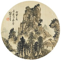 Landscape, Xiong Jingxing, ink and color on silk