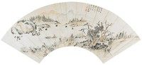 Landscape Painted in the Manner of Shen Chou, Lu Xiang, ink and color on mica ground paper