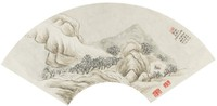 Landscape in the Manner of Li Cheng, Shang Yan, ink and color on mica ground paper