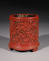 Brush Holder, China, wood and lacquer