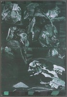 Greenish black and white image on two abutted sheets of paper representing pieces of crumped paper with images of art and faces on them, a man with a turban, and a cow skull.