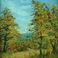Fall Trees in New York State, Xavier J. Barile, oil on board