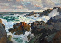 Crashing Waves (Coast of Maine), Paul Dougherty, oil on canvas