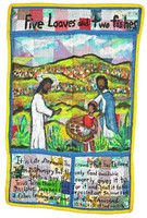 """Large quilt of natural and synthetic materials of rectangular shape, the border a bright yellow and the ground a patchwork of various fabrics, with an interior border of blue that divides the quilt into sections, the top includes the title of the quilt, """"Five Loaves and two fishes"""" in black paint, while the middle section includes the scene of Jesus with one of his Disciples and a small boy holding a basket full of loaves of bread and fish, in a landscape with hordes of people in the background, the lower two sections include the inscription, """"It is Late afternoon. The crowd that has followed Jesus is hungry. But the only food available belongs to a boy. He eagerly gives it to Jesus Who thanks God for it and hand it to his Disciples. They had faith. on passed out 5 Loave and 2 fishes Feeding a crowd of five Thousand. 12 baskets of food was left."""""""