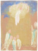 Abstracted figures below on a brown background and one above in a cloud against a blue sky.