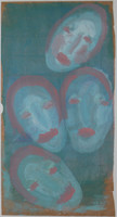 Four faces, blue with coral