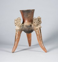 Tripod Vessel with Figures Playing Drums, Central Highlands Zone, Atlantic Watershed, Pre-Columbian, earthenware and slip