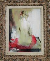 Model in Red Robe, Harriet Murray, acrylic on artist board