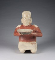 Seated Female with Bowl, Jalisco culture, Pre-Columbian, fired clay and slip