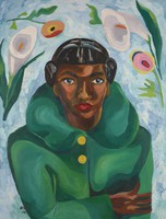 Woman in Green Coat, Betty Grisham, oil on canvas