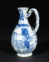 Pitcher with decoration of soldiers in a landscape