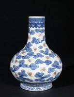 Vase with bats and clouds decoration