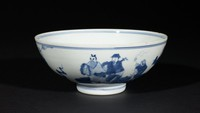 Bowl with decoration of a figure floating on a cloud