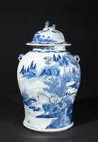Jar with scene of figures in a landscape