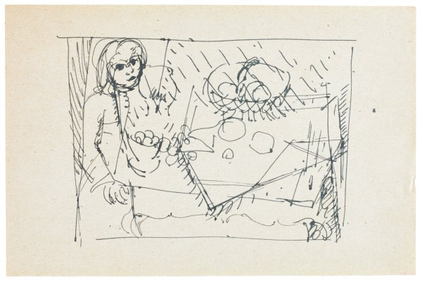 Sketch of a figure at a table. The figure stands on the left of the composition beside a table that contains two baskets or bowls of food as well as other various shapes.