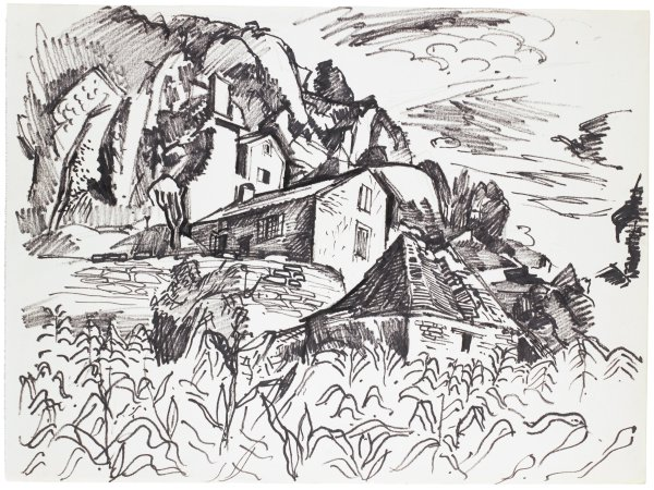 Sketch of houses along the side of a hill. Vegetation populates the foreground.