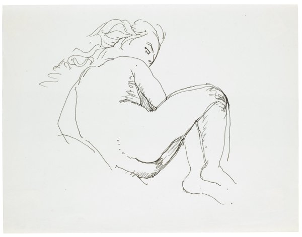 Sketch of a nude female. She lays on her side with legs folded near her chest. She is turned away from the viewer but twists her head back to look over her shoulder.