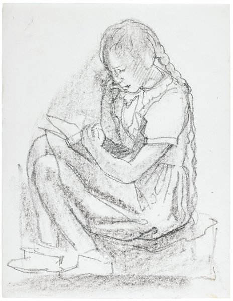 Sketch of a girl sitting on an object reading a book. Her hair is braided and she wears a short sleeve dress and boots.