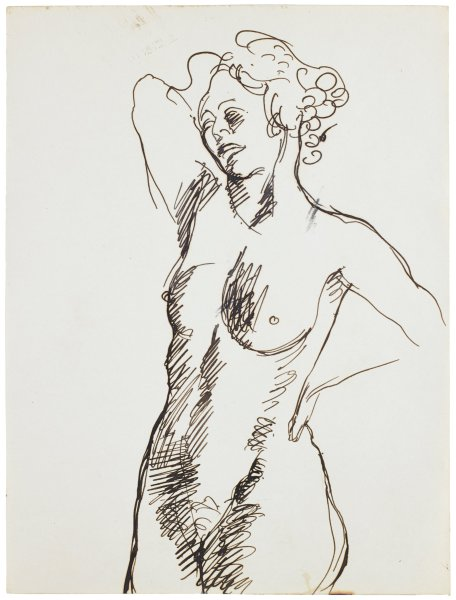 Sketch of a nude female. She is seen in three-forths view. She stands slightly angled to the left. Her right arm is held up and behind her head. Her left hand rests on her hip.