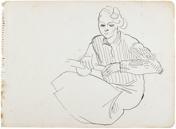 Line drawing of a woman sitting. She wears a long sleeve dress and holds a long cylindrical shape in her hands.