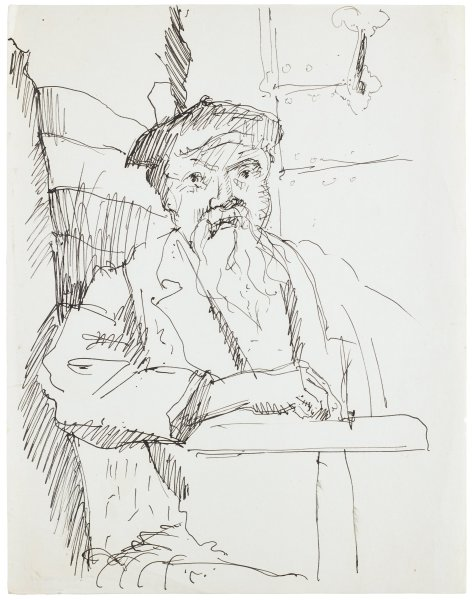 Line drawing portrait of an older man. He wears a hat and jacket. He sits in a chair with his right arm propped up.