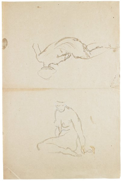 Two sketches in watercolor of female nudes. The bottom figure sits with her upper body twisted forward and her left leg bent. The top figure, oriented upside down, reclines facing away from the viewer.