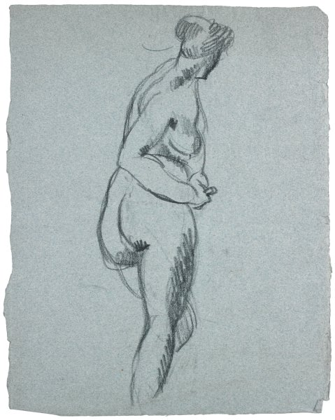 Figure drawing of nude female. She faces away from the viewer with the upper half of her body twisting to the right.
