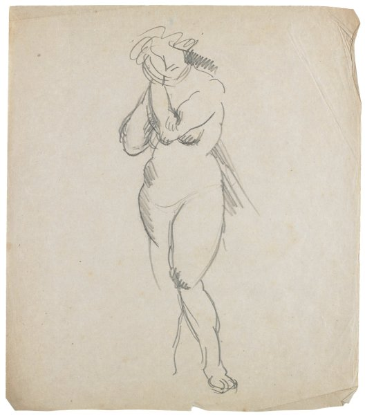 Gesture drawing of a nude woman with her hands lifted to her right ear.