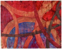 Crimson, orange, and black arching lines over a red and blue background.