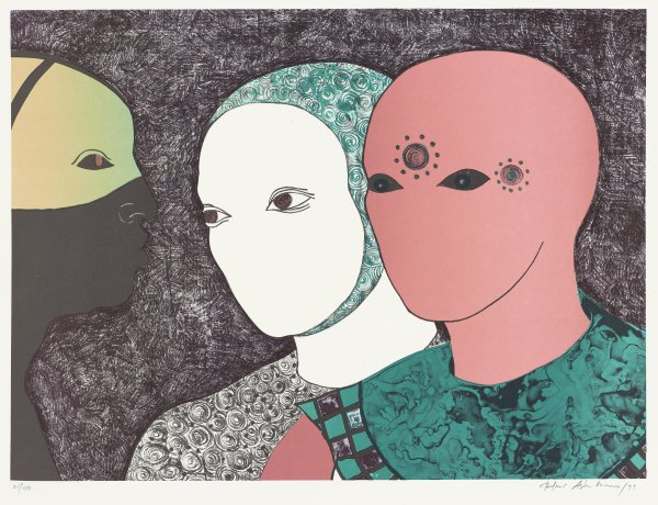 Three faces: a green one with something covering the lower half; a white one with a head covering; and a pink one with two sun-like shapes on the forehead.
