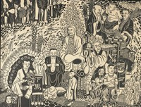 Woodblock print with a large group of people in traditional Vietnamese garb in various reincarnations