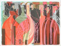 A crowd of people, possibly at a formal dance, depicted in black, red, yellow, and green.