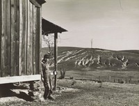 In the left foreground of this black and white photograph, a man in overalls leans heavily against the corner of a weathered wooden building. This takes up a full third of the picture. The ground on which the man is standing slopes into the distance, where it meets deeply eroded fields. At the far end of the fields, and located just right-of-center within the image, a lone bare tree stands against a placid sky.