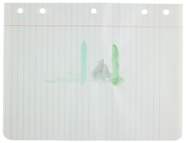 Polychrome (green and gray)—two horizontal green bars with a gray abstract form in the center; green paint drips vertically from bars at right side
