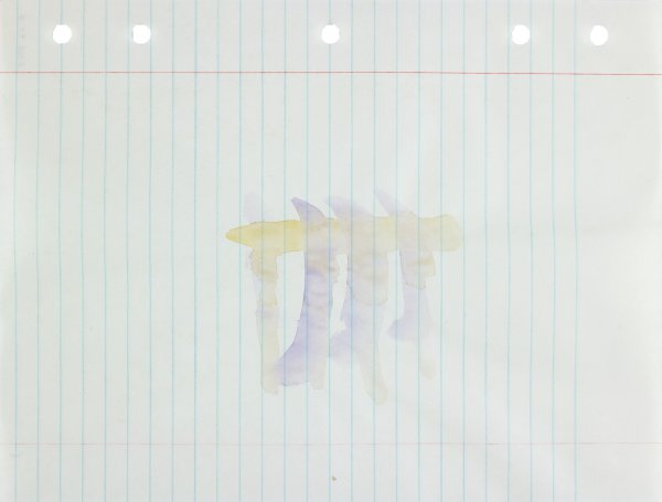 Polychrome (purple and yellow) in astract form applied to center of paper