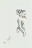 This is a drawing of a Black female nude, on her knees, and depicted in profile. She wears a ring of cotton around her neck.