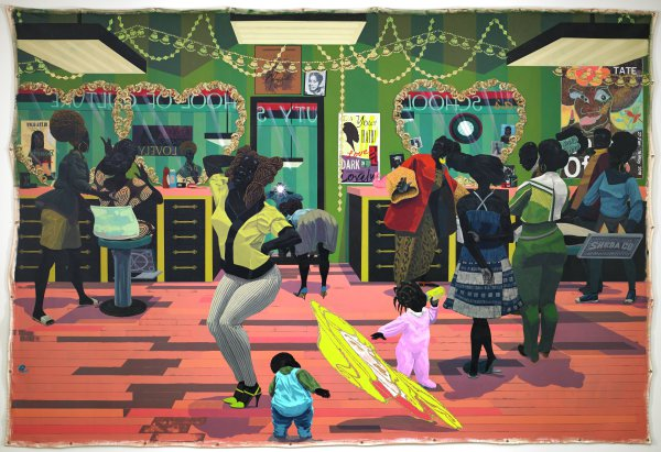 An enormous and complex multi-figure painting set in an African-American beauty salon/beauty academy. Mirrors in the painting are outlined in glitter, which Marshall applies to the surface in a gel medium. The painting's unstretched canvas surface has grommets running along its outer perimeter. The painting hangs on screws threaded through the grommets. The composition ends just short of the support's outer edges.