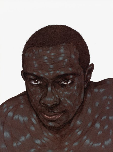 A heavily worked ink drawing of the head and shoulders of a black man, against a white ground. The figure's skin is rendered with striated (inkless) passages that suggest musculature or keyloidal scarring. The ink is so densely applied in parts that the paper takes on a burnished sheen.