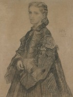 Portrait of Mrs. Royal Robbins (Mary Elizabeth Robbins), William Morris Hunt, charcoal on paper