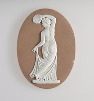 Oval lilac (light brown) jasper plaque with white relief of female dancer with tambourine probably a trial