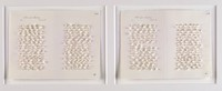 Diptych of columns of white threaded stitches