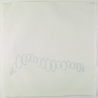 A contiguous chain of light grey paper ovals adhered to a blank white field and running horizontally in the lower half of the paper.