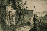 This etching is created with black ink on paper. It represents a row of houses along a street. There is a tree immediately in front of the house in the foreground. Leaning on that tree is a collapsing fence, also in front of the house. Beyond the fence is a sidewalk and then a street. Three people are walking in the street. Near the figures is a prominently placed power pole. Houses perched on hills extend down the street, receding into the background. Behind the houses is a large hill or slag pile.