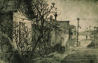This etching is created with black ink on paper. It represents a row of houses along a street. There is a tree immediately in front of the house in the foreground. Leaning on that tree is a collapsing fence, also in front of the house. Beyond the fence is a sidewalk and then a street. A group of figures and a single figure walk in the middle ground on the street. Above the group of figures a power line runs across the street to a power pole with a street light. Power poles and lines run along the opposite side of the street.  Houses extend down the street.